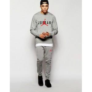 """Серый костюм Jordan ( черно-красное лого) """""""" В стиле Jordan """"""""0536"""