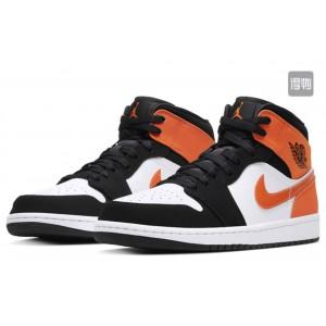 Модные подростковые кроссовки Nike Air Jordan, черно белые с оранжевым