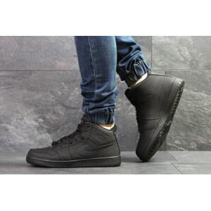 Высокие зимние кроссовки Nike Jordan,нубук,черные 45,46