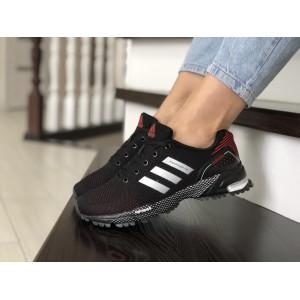 Подростковые (женские) летние кроссовки Adidas Marathon,черные с красным