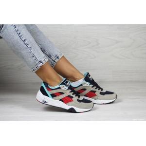 Женские кроссовки Puma Trinomic,замшевые,серые с красным/голубым