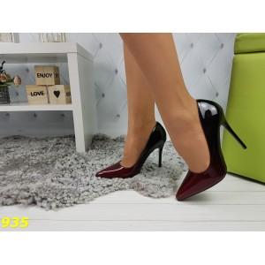 Туфли лодочки омбре черные с бордо марсала