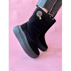 Женские ботинки замшевые зимние черные Best Vak БЖ33-01Z