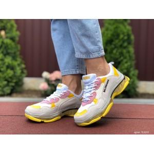 Модные женские кроссовки Balenciaga,Баленсиага,серые с желтым