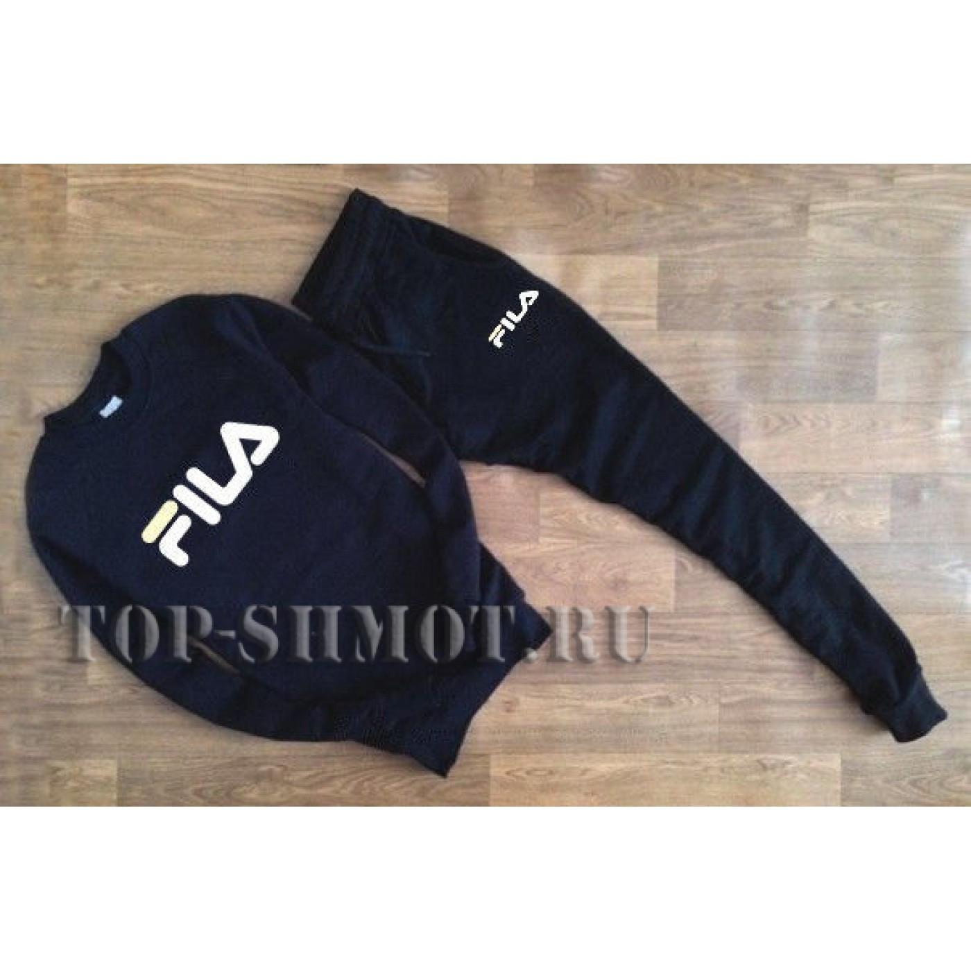 ea01ce4c Купить Черный спортивный костюм FILA (Белое лого)
