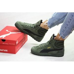 Зимние женские замшевые кроссовки Puma Suede,зеленые,на меху