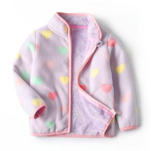 Кофта для девочки флисовая утеплённая Разноцветные сердечки Berni