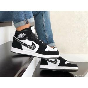 Кроссовки Nike Air Jordan Dior, черно белые 44, 46р
