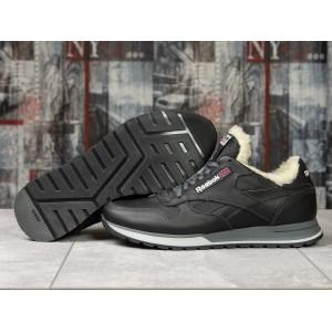Зимние кроссовки на мехуReebok Classic, черные (31111) размеры в наличии ► [ 40 42 43 44 45 ]