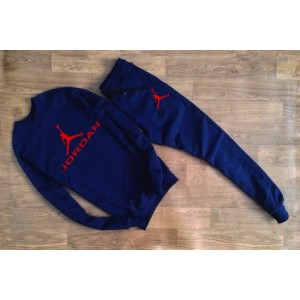 "Темно-синий костюм Jordan теплый (красное лого) """" В стиле Jordan """"0559"