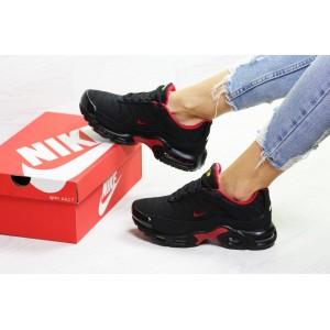 Подростковые зимние кроссовки Nike air max TN,черные с красным 36р