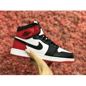 Высокие зимние подростковые кроссовки Nike Air Jordan 1 Retro,белые с красным/черным