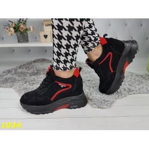 Сникерсы кроссовки черно красные на платформе с танкеткой