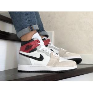 Кроссовки Nike Air Jordan,серые с бежевым,белым.