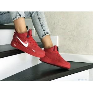 Зимние женские кроссовки Nike Air Force,красные