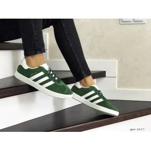 Женские замшевые кроссовки Adidas Gazelle,зелені