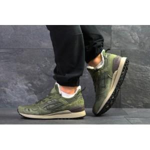 Зимние кроссовки Asics Gel Lyte III,темно зеленые,на меху