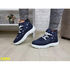 Дутики ботинки зимние на густом меху синие снежинки