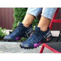 Женские, подростковые кроссовки Salomon Speedcross 3,темно синие,кроссовки для бега