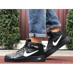 Мужские высокие кожаные осенние кроссовки Nike Air Force Black/White