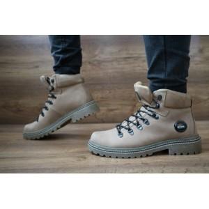 Мужские зимние ботинки Shark кожаные,оливковые.