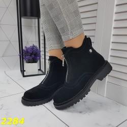 Ботинки демисезонные со змейкой спереди в замше низкий каблук