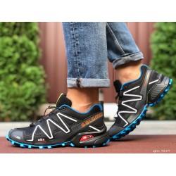 Кроссовки мужские для бега и зала Salomon Speedcross 3,черно-белые с синим