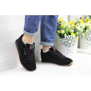 Женские кроссовки Reebok Classic Leather since 1983 замшевые,черные 39р