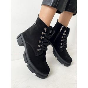 Женские ботинки замшевые зимние черные Best Vak БЖ32-01Z