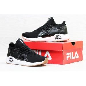 Высокие летние кроссовки Fila,черно-белые (реплика)