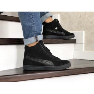 Высокие зимние кроссовки Puma Suede замшевые,черные 40р