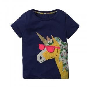 Футболка для девочки Stylish unicorn Jumping Meters