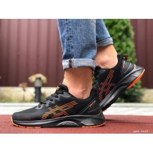 Мужские летние кроссовки Asics,сетка,черные с оранжевым