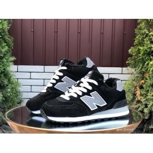 Зимние подростковые кроссовки New Balance 574,замшевые,черные с серым