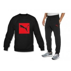 0d2a814b Мужской чёрный спортивный костюм Puma красно-чёрное лого