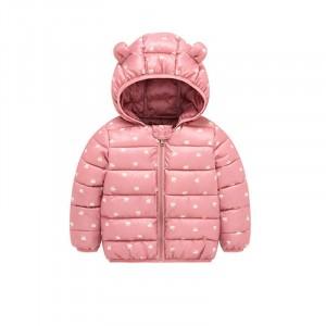 Куртка-пуховик для девочки Белые лебеди, розовый Berni