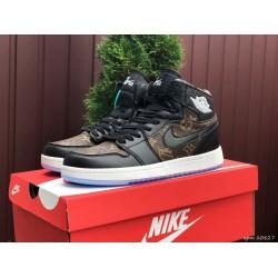 Кроссовки осенние Nike Air Jordan 1 Louis Vuitton ,черные с коричневым