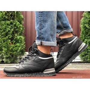 Высокие кожаные зимние кроссовки Reebok,черные с серым