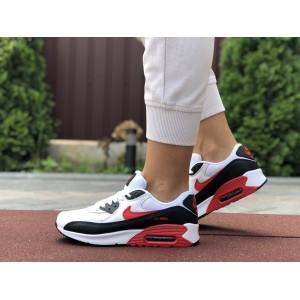 Женские кроссовки Nike air max 90,белые с черным и красным