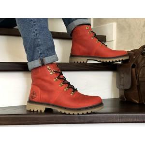 Мужские зимние кожаные ботинки Timberland,Тимберленд,на меху,красные