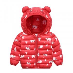 Куртка-пуховик детская Белые мишки, красный Berni