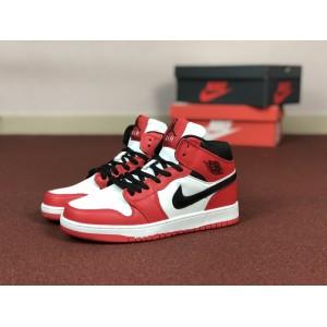 Мужские кроссовки Nike Air Jordan 1 Retro,красные с белым