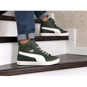 Высокие зимние кроссовки Puma Suede замшевые,темно зеленые