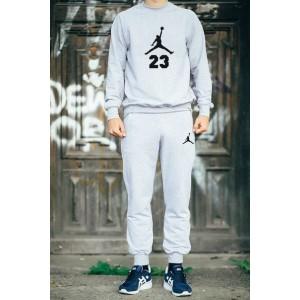 """Серый костюм Jordan теплый (черное лого) """""""" В стиле Jordan """""""" 0546"""