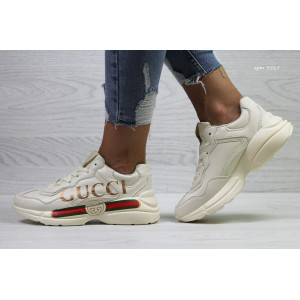 Модные женские кроссовки Gucci,светло бежевые