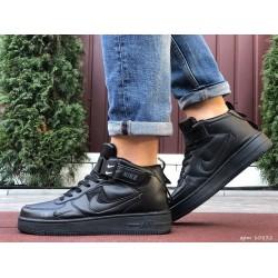 Мужские высокие кожаные осенние кроссовки Nike Air Force Black