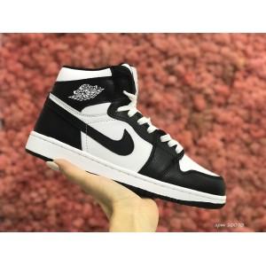 Высокие зимние подростковые кроссовки Nike Air Jordan 1 Retro,белые с черным