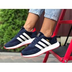 Женские (подростковые) кроссовки Adidas Iniki,темно синие с белым