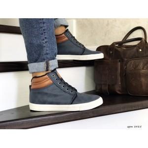 Мужские зимние ботинки кроссовки VINTAGE,синие,на меху