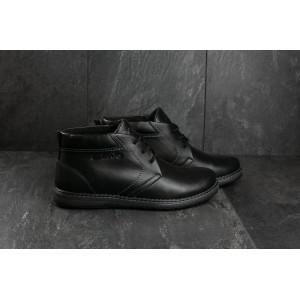 Ботинки Yuves 801 (Clarks) (зима, мужские, натуральная кожа, черный)